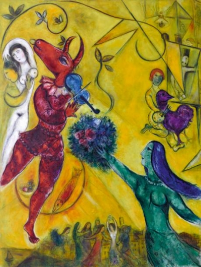 Fhoto: Marc Chagall - (The dance, 1950-52). Equality is a myth, it does not exist. Civilized society does not exist, we are still barbarians, if we don't recognize the uniqueness of each individual (symbolism, the girl holding the flowers as a gift) there will no longer exist a civilized world, human, living in love and joy.