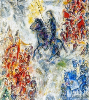 Picture: Marc Chagall. 1974.  Symbolism: a knight deprived of his armour standing near a banner and surrounded by peoples in peace. One single government (one head without any power) for all the peoples. This kind of government would result in a wonderful world, whose president or prime minister would have no power, but only tasks, they would be our servants, and not our masters. One single world government would prevent men from gaining power, because the existence of other governments arouses fear and increases the power of the heads of government. If wars ceased, powerful men would be no longer required: power, in fact, results from war. If the military expenses were destined for other uses, war and poverty would disappear.