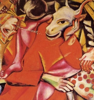 Phonto: M. Chagall (1911) - The confusing politics of the powerful. - The gap between politics and religion consists of that fact that religion, unlike politics, must be experienced but not understood.  The politics of the politicians, who sit on comfortable seats, is rather chaotic, it bewilders our mind - which is exposed to various problems but cannot understand anything - and subjects us to the power and powerful.   The prophetic justice is make people aware everywhere and without weapons, just through its voice or the organized Nature capable of highlighting the contradictions of the weak, but especially of the strong, such as their cowardice and fear of living the terrible truth which turns them into powerless instruments of abuse.