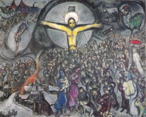 The Exodus (movement of the people), Moses (with the Tablets of the Law), the central yellow Cross without the traditional signs of the passion, the wounds in the hands and chest (the Resurrection, i.e. the Victory over power); the painting teaches that the true worship of God implies breaking the yoke around the neck of the oppressed and set the slaves free.